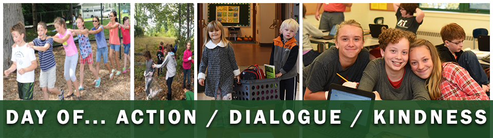A day of action, dialogue, kindness banner