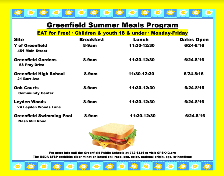 Greenfield 2019 Summer Eats Program | Greenfield Public Schools