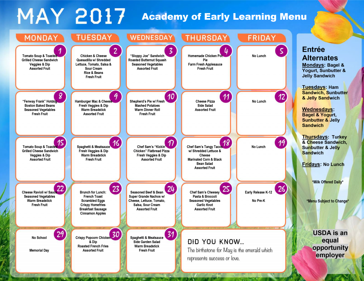 May 2017 AEL Lunch Menu