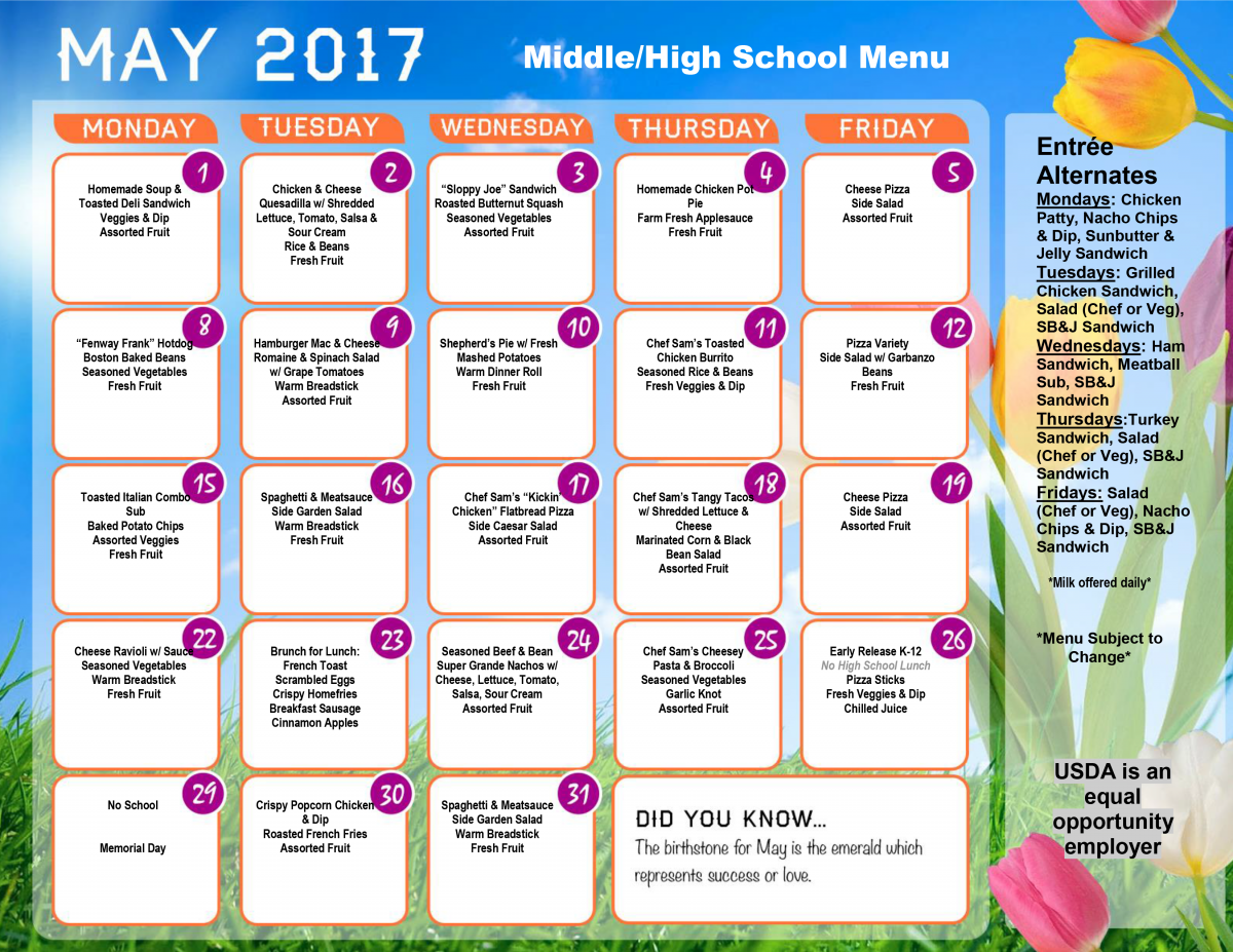 May 2017 Middle School Lunch Menu