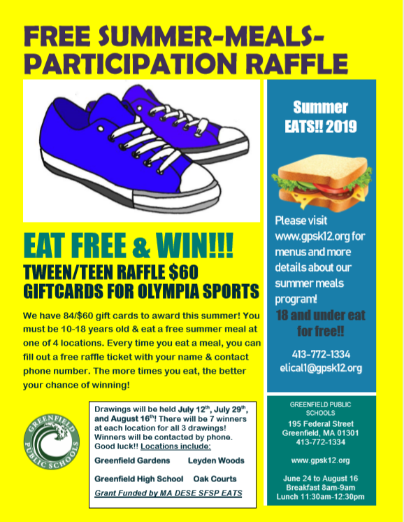 Free Summer Meals Participation Raffle Grant Funded