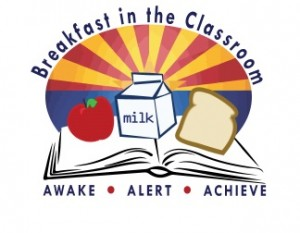 "Clipart picture with the text ""Breakfast in the Classroom"" and "" AWAKE ALERT ACHIEVE"""