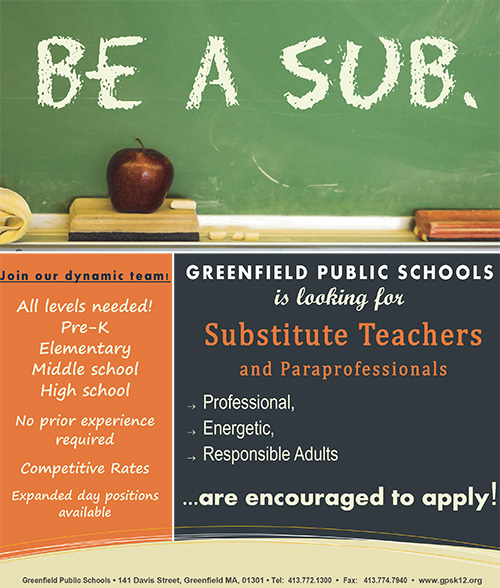 Be A Sub in the Greenfield Public Schools flyers