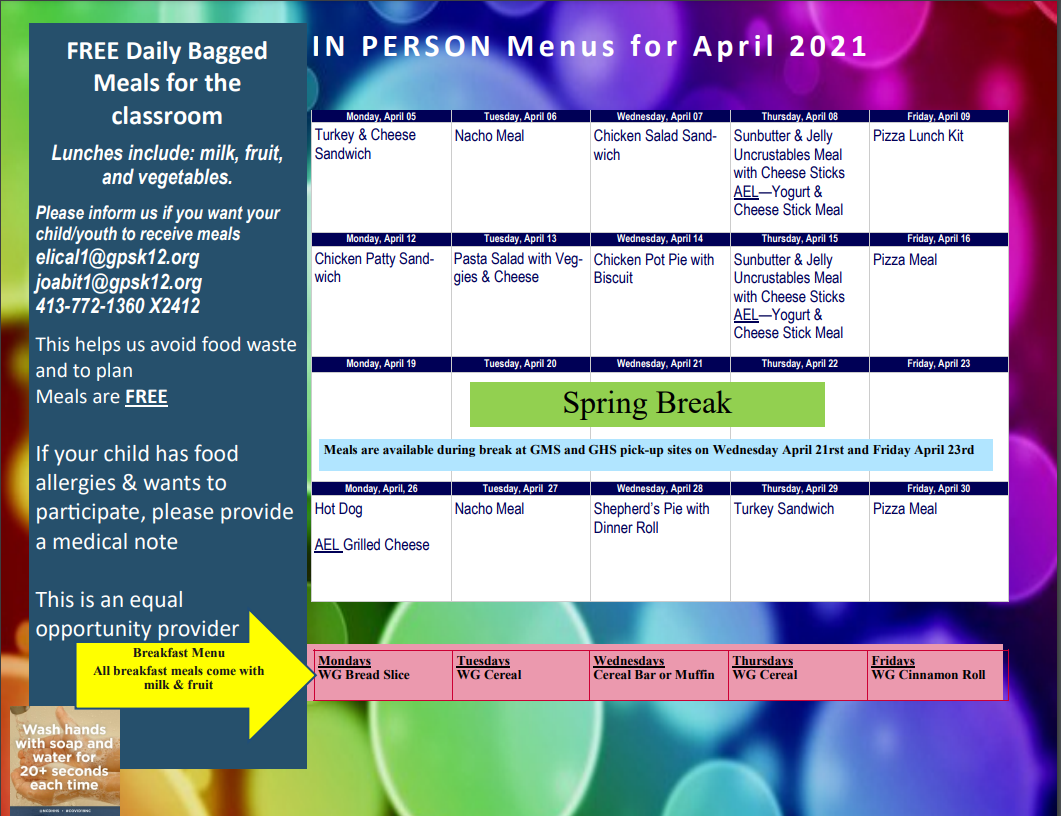 April 2021 In-Person Menu