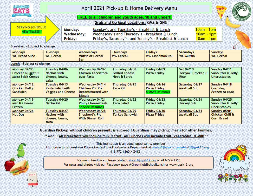 April 2021 Pick-up and Delivery Menu