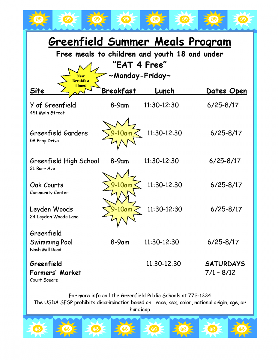 2018 Summer Meals program flyer