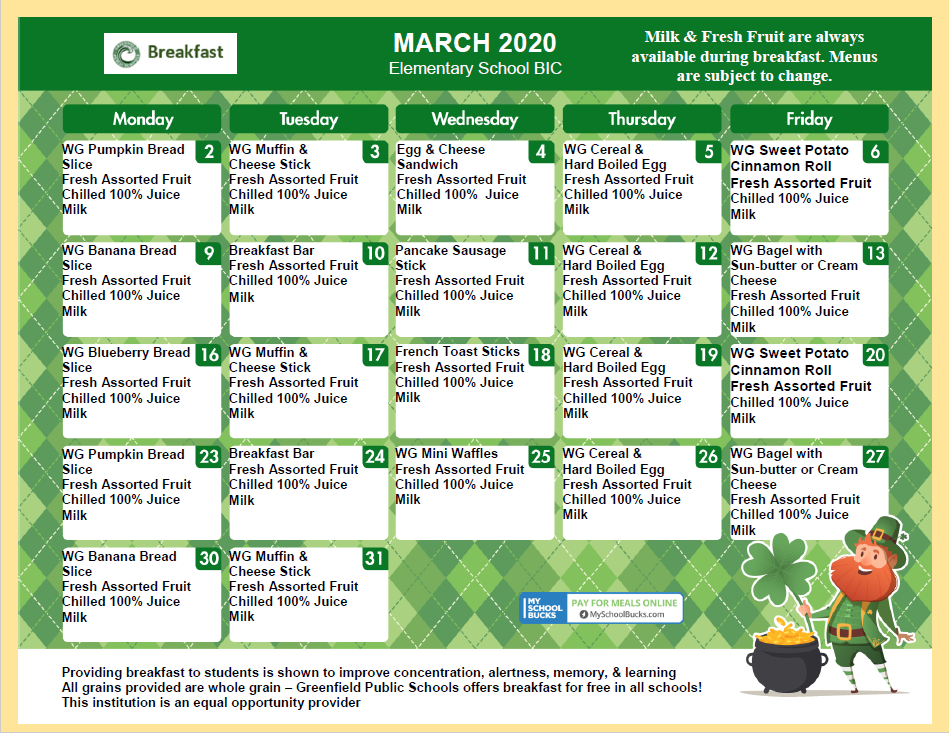 March 2020 Elementary School BIC Menu