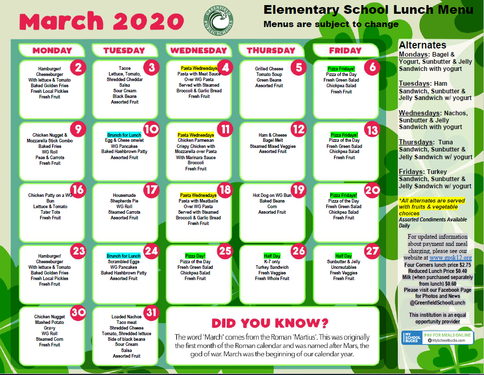 March 2020 Elementary Lunch Menu
