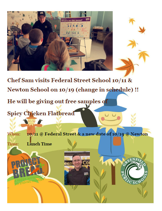 Poster announcing a visit from Chef Sam to Federal Street School and Newton School