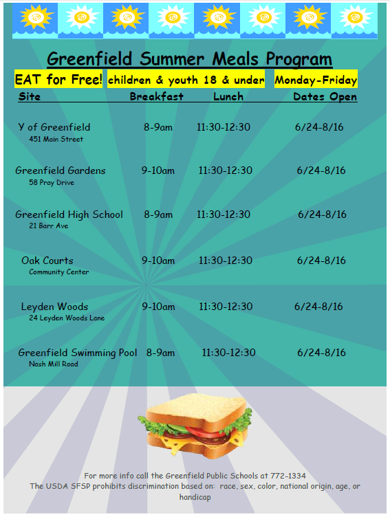 Greenfield Summer Meals Program Locations and Dates 2019