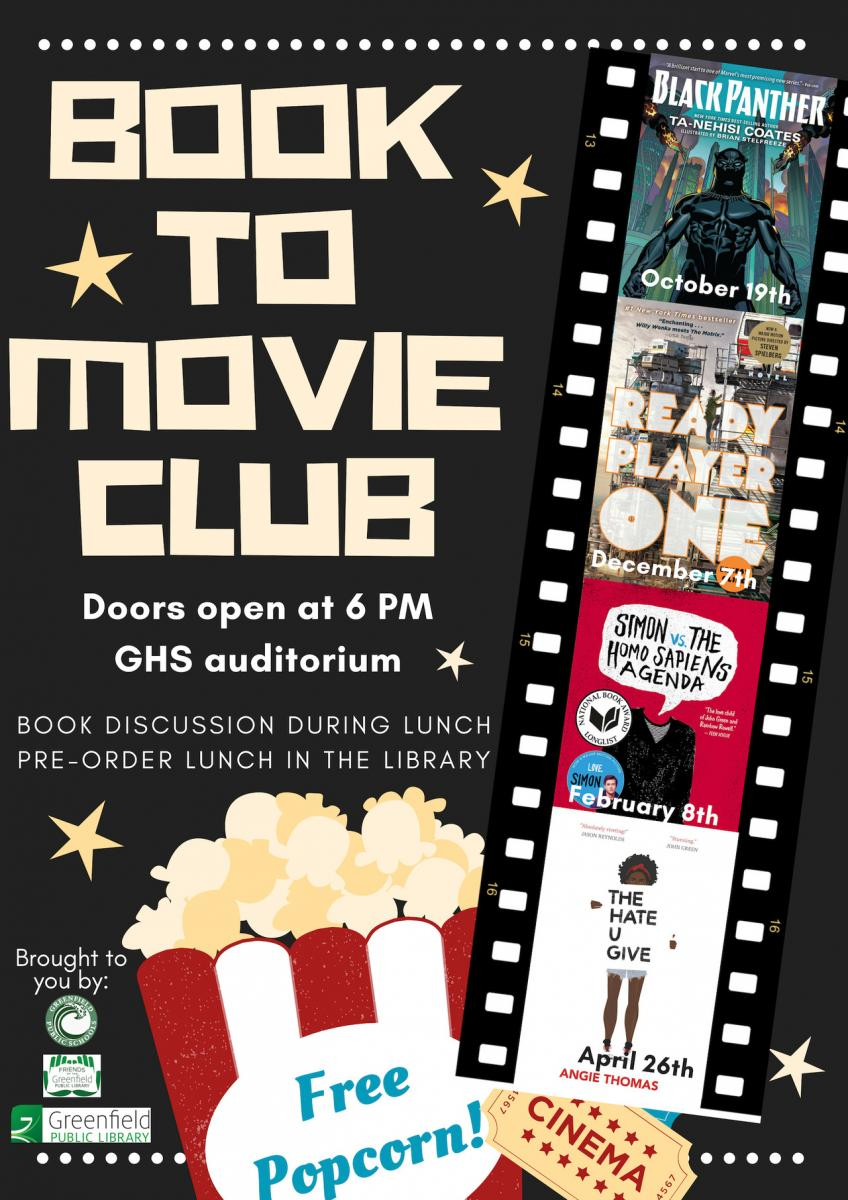 Book to Movie Club Flyer 2018