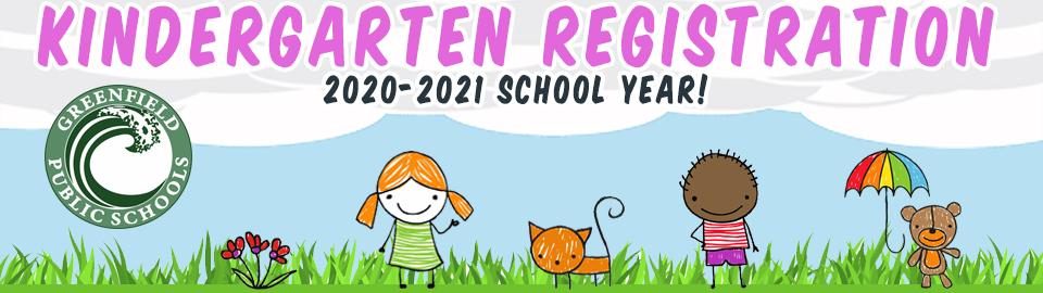 kindergarten registration 2020-2021 banner