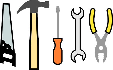 Saw, hammer, screwdriver, wrench