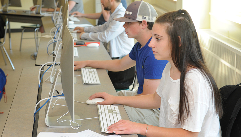 Photo of students on computers